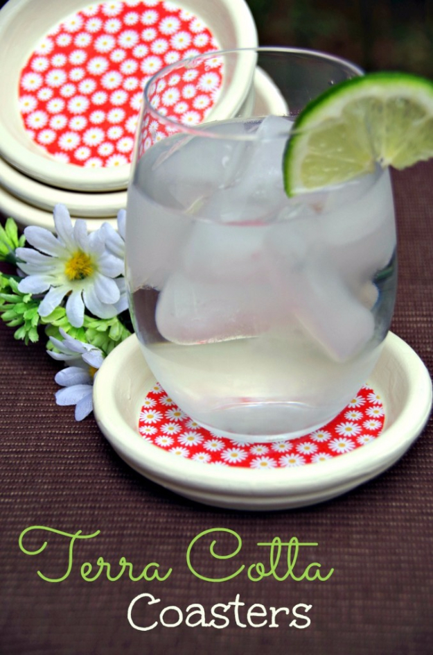 DIY Coasters - Terracotta Coasters - Best Quick DIY Gifts and Home Decor - Easy Step by Step Tutorials for DIY Coaster Projects - Mod Podge, Tile, Painted, Photo and Sewing Projects - Cool Christmas Presents for Him and Her - DIY Projects and Crafts by DIY Joy