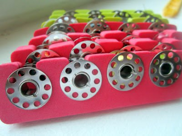 sewing hacks - Toe Separator As Bobbins Storage - Best Tips and Tricks for Sewing Patterns, Projects, Machines, Hand Sewn Items #sewing #hacks