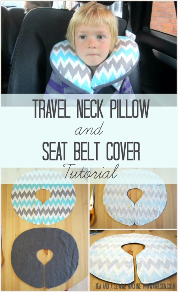 DIY Car Accessories and Ideas for Cars - Travel Neck Pillow And Seat Belt Cover - Interior and Exterior, Seats, Mirror, Seat Covers, Storage, Carpet and Window Cleaners and Products - Decor, Keys and Iphone and Tablet Holders - DIY Projects and Crafts for Women and Men http://diyjoy.com/diy-ideas-car