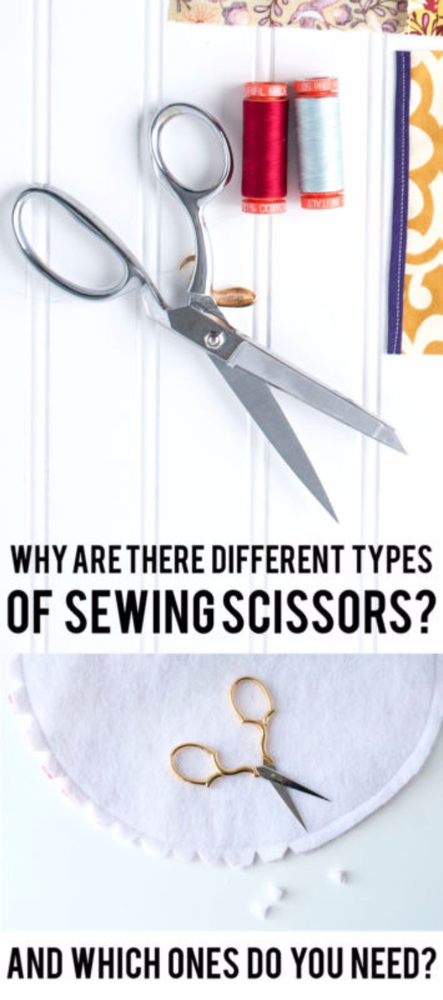 sewing hacks - Types Of Sewing Scissors Explained - Best Tips and Tricks for Sewing Patterns, Projects, Machines, Hand Sewn Items #sewing #hacks