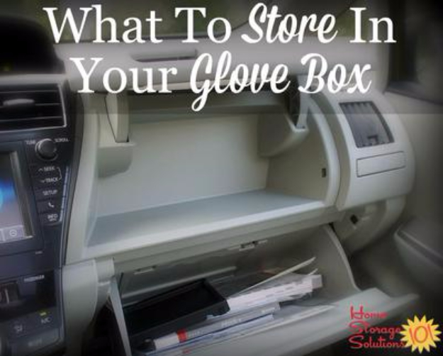 DIY Car Accessories and Ideas for Cars - What To Store In Your Glove Box - Interior and Exterior, Seats, Mirror, Seat Covers, Storage, Carpet and Window Cleaners and Products - Decor, Keys and Iphone and Tablet Holders - DIY Projects and Crafts for Women and Men http://diyjoy.com/diy-ideas-car