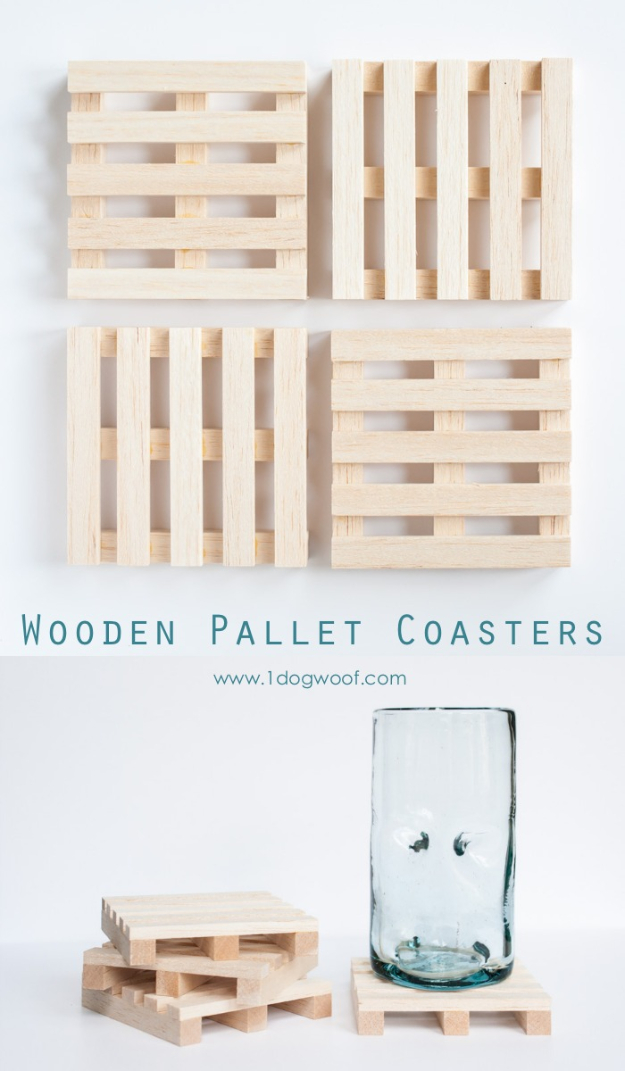 DIY Coasters - Wooden Pallet Coasters - Best Quick DIY Gifts and Home Decor - Easy Step by Step Tutorials for DIY Coaster Projects - Mod Podge, Tile, Painted, Photo and Sewing Projects - Cool Christmas Presents for Him and Her - DIY Projects and Crafts by DIY Joy http://diyjoy.com/diy-coasters