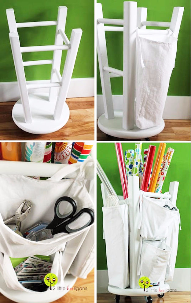 Best DIY Hacks for The New Year - Wooden Stool Into A Tool And Crafts Organizer - Easy Organizing and Home Improvement Ideas - Tips and Tricks for Quick DIY Ideas to Simplify Life - Step by Step Hack Tutorials for Genuis Ways to Make Quick Things Easier http://diyjoy.com/best-diy-hacks