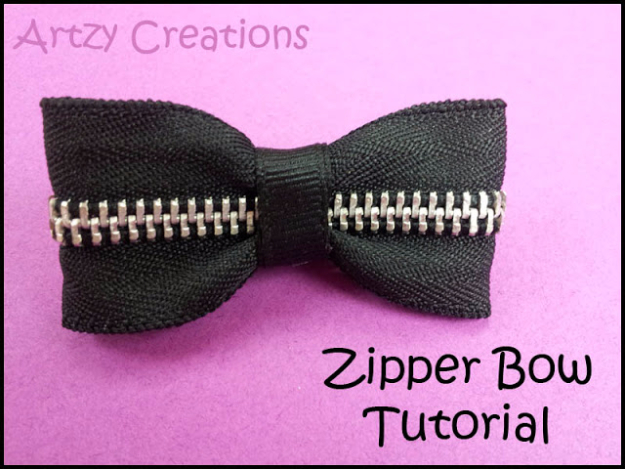 Creative DIY Projects With Zippers - Zipper Bow - Easy Crafts and Fashion Ideas With A Zipper - Jewelry, Home Decor, School Supplies and DIY Gift Ideas - Quick DIYs for Fun Weekend Projects http://diyjoy.com/diy-projects-zippers