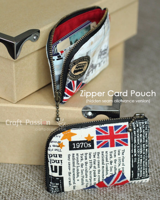 Creative DIY Projects With Zippers - Zipper Card Pouch - Easy Crafts and Fashion Ideas With A Zipper - Jewelry, Home Decor, School Supplies and DIY Gift Ideas - Quick DIYs for Fun Weekend Projects