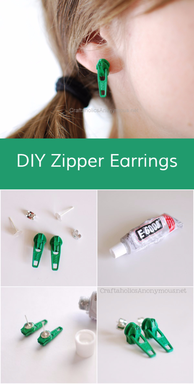 Creative DIY Projects With Zippers - Zipper Earrings - Easy Crafts and Fashion Ideas With A Zipper - Jewelry, Home Decor, School Supplies and DIY Gift Ideas - Quick DIYs for Fun Weekend Projects