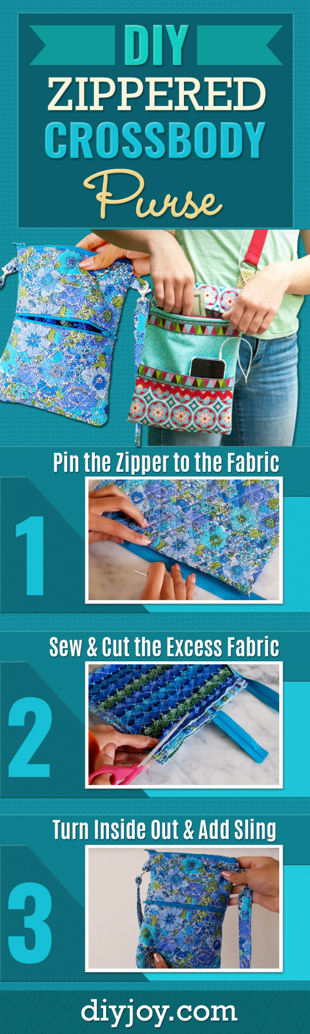 Creative DIY Projects With Zippers - Zippered Crossbody Bag - Easy Crafts and Fashion Ideas With A Zipper - Jewelry, Home Decor, School Supplies and DIY Gift Ideas - Quick DIYs for Fun Weekend Projects http://diyjoy.com/diy-projects-zippers