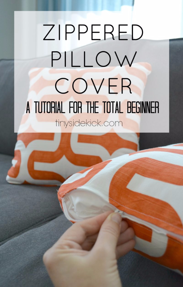 Creative DIY Projects With Zippers - Zippered Pillow Cover - Easy Crafts and Fashion Ideas With A Zipper - Jewelry, Home Decor, School Supplies and DIY Gift Ideas - Quick DIYs for Fun Weekend Projects http://diyjoy.com/diy-projects-zippers