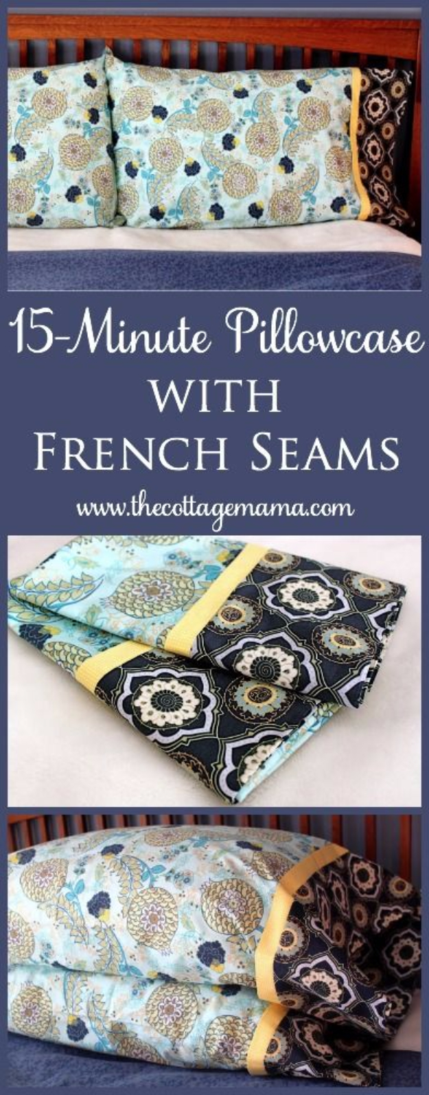 DIY Pillowcases - 15 Minute Pillowcase With French Seams - Easy Sewing Projects for Pillows - Bedroom and Home Decor Ideas - Sewing Patterns and Tutorials - No Sew Ideas - DIY Projects and Crafts for Women #sewing #diydecor #pillows