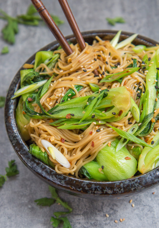 Quick and Healthy Dinner Recipes - 15 Minute Sesame Ginger Noodles - Easy and Fast Recipe Ideas for Dinners at Home - Chicken, Beef, Ground Meat, Pasta and Vegetarian Options - Cheap Dinner Ideas for Family, for Two , for Last Minute Cooking #recipes #healthyrecipes