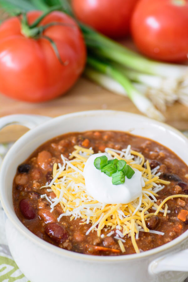 Quick and Healthy Dinner Recipes - 30 Minute Chili - Easy and Fast Recipe Ideas for Dinners at Home - Chicken, Beef, Ground Meat, Pasta and Vegetarian Options - Cheap Dinner Ideas for Family, for Two , for Last Minute Cooking #recipes #healthyrecipes