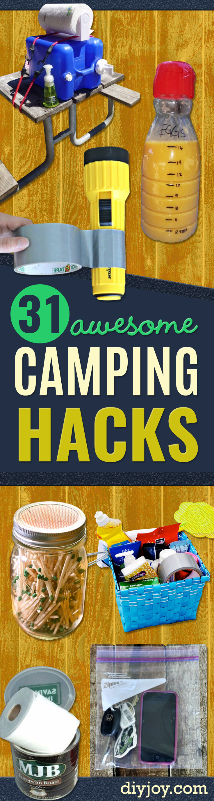 diy camping hacks- Easy DIY Camp Tips and Tricks, Recipes for Camping - Gear Ideas, Cheap Camping Supplies, Tutorials for Making Quick Camping Food, Fire Starters, Gear Holders