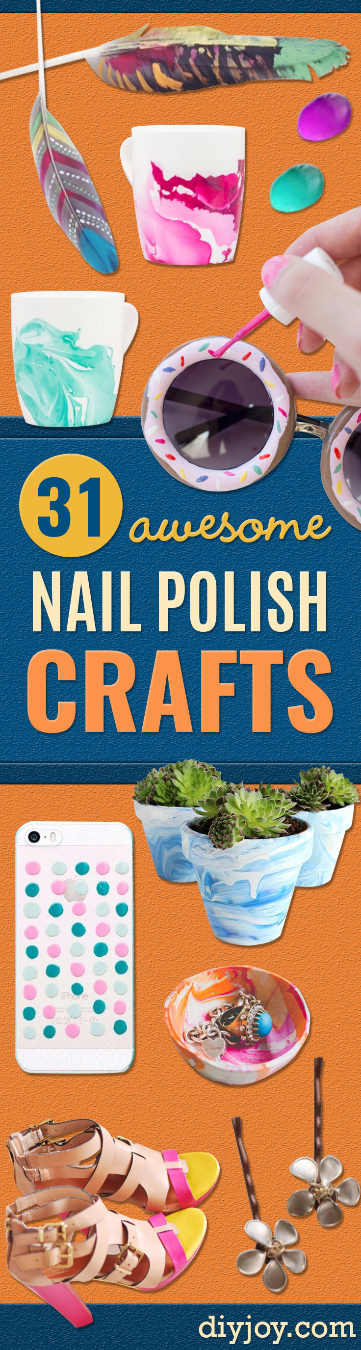 DIY Nail Polish Crafts - Easy and Cheap Craft Ideas for Girls, Teens, Tweens and Adults | Fun and Cool DIY Projects You Can Make With Fingernail Polish - Do It Yourself Wire Flowers, Glue Gun Craft Projects and Jewelry Made From nailpolish - Water Marble Tutorials and How To With Step by Step Instructions