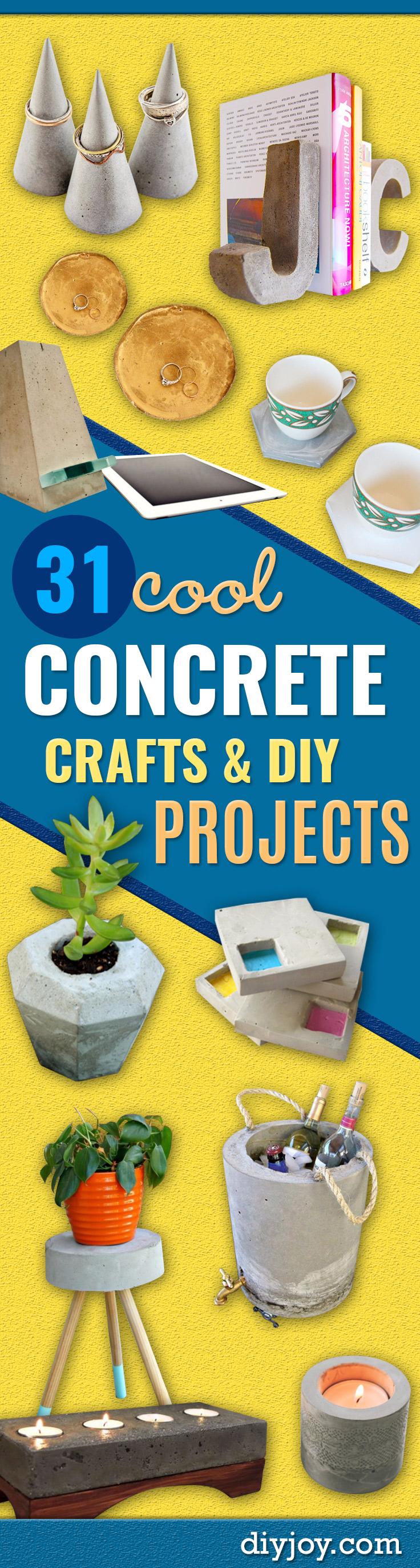 diy concrete crafts - DIY ideas with concrete - homemade christmas gifts - cheap DIY home decor ideas made with concrete