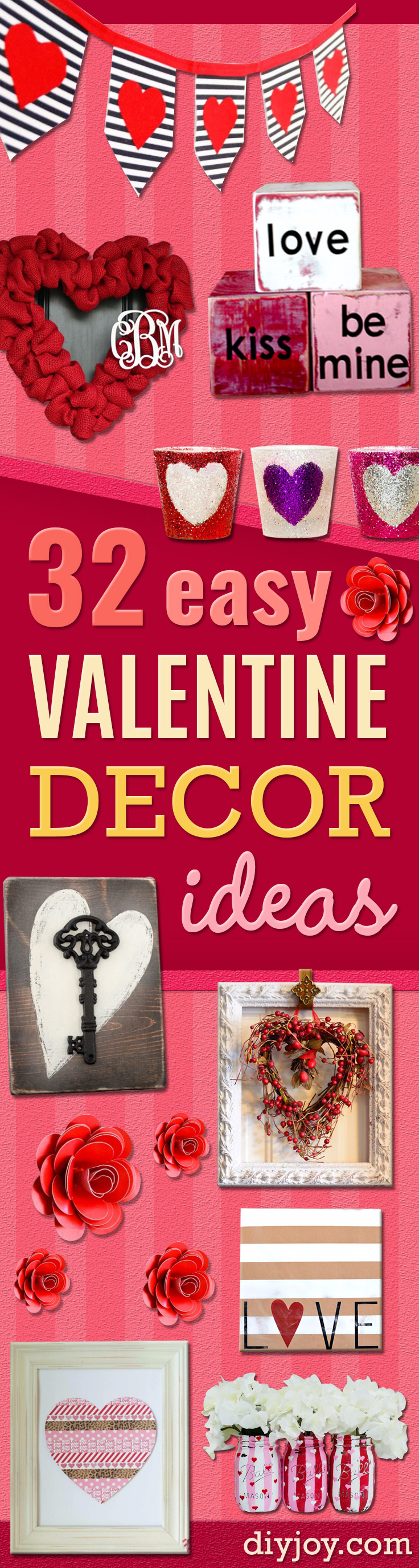 DIY Valentine Decor Ideas - Cute and Easy Home Decor Projects for Valentines Day Decorating - Best Homemade Valentine Decorations for Home, Tables and Party, Kids and Outdoor - Romantic Vintage Ideas - Cheap Dollar Store and Dollar Tree Crafts