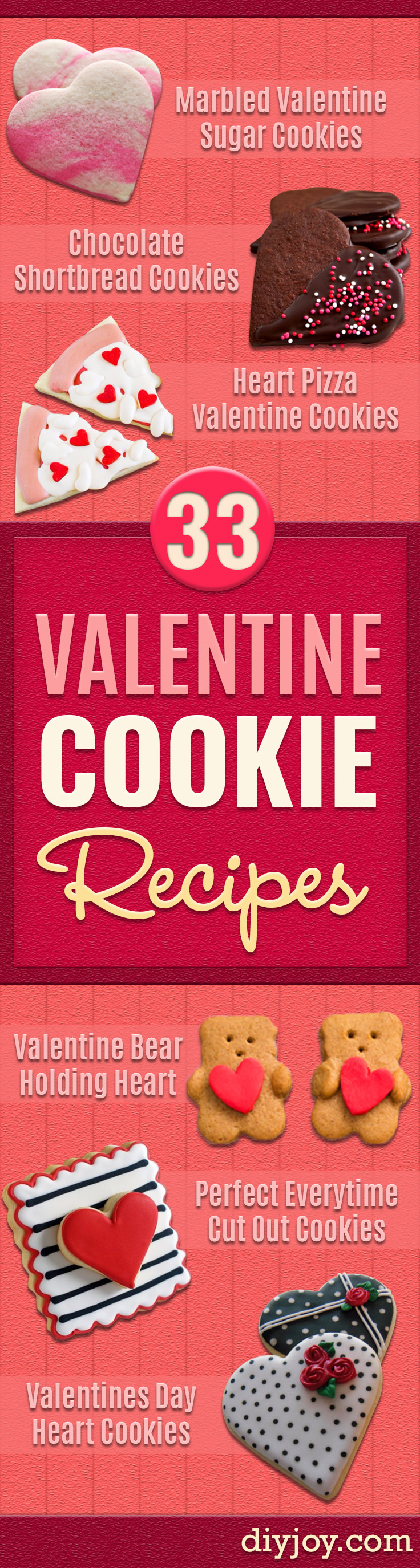 DIY Valentines Day Cookies - Easy Cookie Recipes and Recipe Ideas for Valentines Day - Cute DIY Decorated Cookies for Kids, Homemade Box Cookies and Bouquet Ideas - Sugar Cookie Icing Tutorials With Step by Step Instructions - Quick, Cheap Valentine Gift Ideas for Him and Her http://diyjoy.com/diy-valentines-day-cookie-recipes