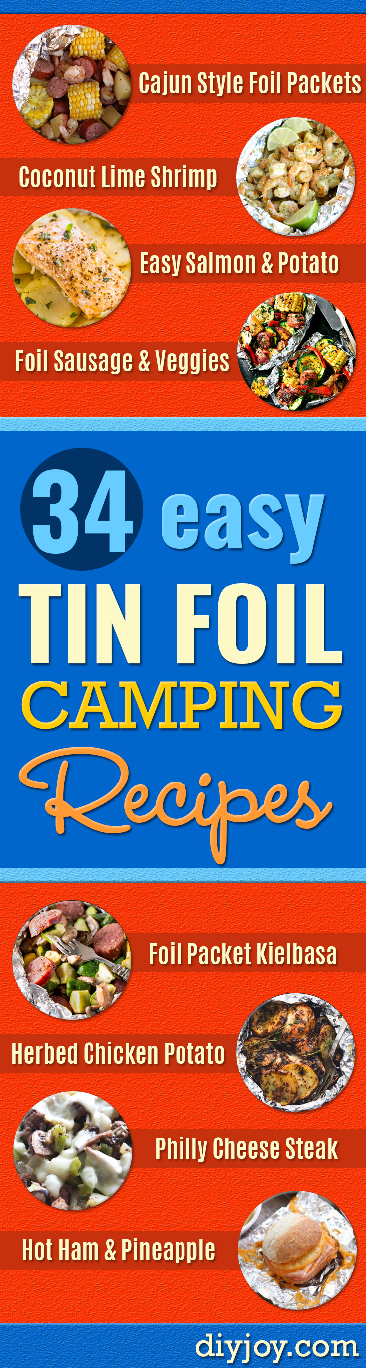 tin foil recipes camping - foil packet recipes dinner - Ideas for Camping Trips -Chicken, Healthy, Fish, Steak , Easy Make Ahead Recipe Ideas for the Campfire. Breakfast, Lunch, Dinner and Dessert