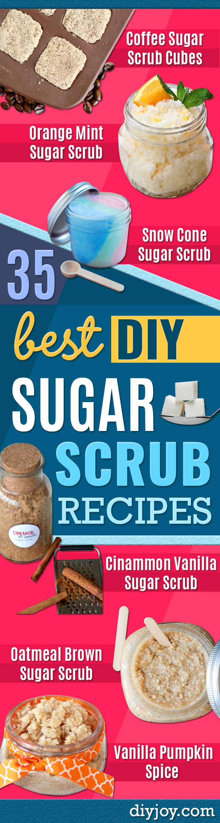 DIY Sugar Scrub Recipes -diy christmas gifts- Easy and Quick Beauty Products To Make at Home - Cool and Cheap DIY Gift Ideas for Homemade Presents Women, Girls and Teens Love - Natural Recipe Ideas for Making Sugar Scrub With Step by Step Tutorials