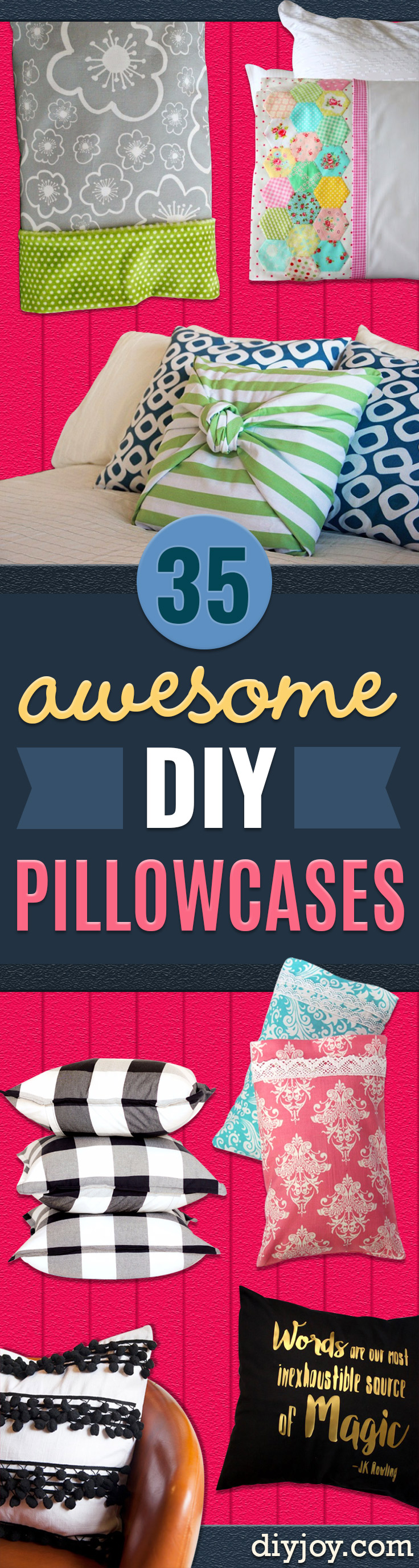 DIY Pillowcases - Easy Sewing Projects for Pillows - Bedroom and Home Decor Ideas - Sewing Patterns and Tutorials - No Sew Ideas - DIY Projects and Crafts for Women