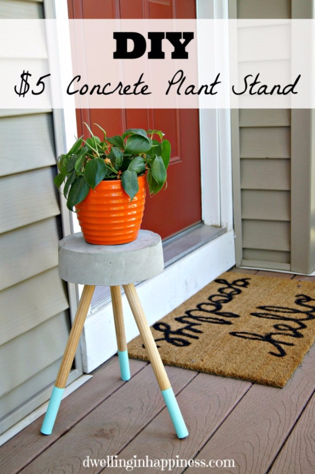 DIY Projects Made With Concrete - $5 DIY Concrete Plant Stand - Quick and Easy DIY Concrete Crafts - Cheap and creative countertops and ideas for floors, patio and porch decor, tables, planters, vases, frames, jewelry holder, home decor and DIY gifts