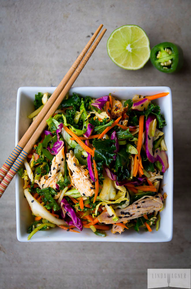 Healthy Lunch Ideas for Work - 5 Minute Spicy Asian Chicken Salad - Quick and Easy Recipes You Can Pack for Lunches at the Office - Lowfat and Simple Ideas for Eating on the Job - Microwave, No Heat, Mason Jar Salads, Sandwiches, Wraps, Soups and Bowls http://diyjoy.com/healthy-lunch-ideas-work