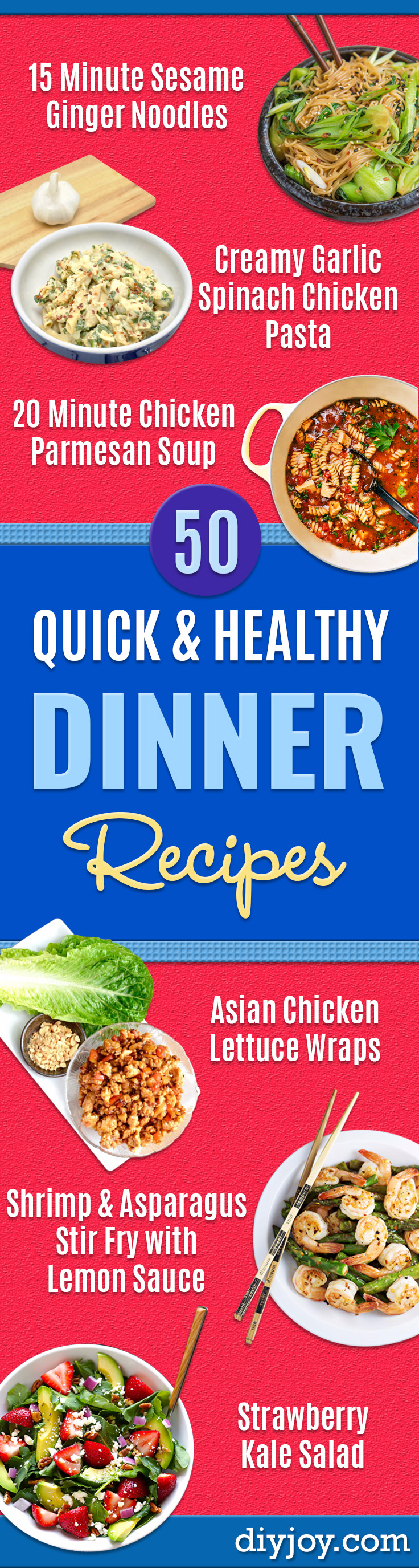Quick and Healthy Dinner Recipes - Easy and Fast Recipe Ideas for Dinners at Home - Chicken, Beef, Ground Meat, Pasta and Vegetarian Options - Cheap Dinner Ideas for Family, for Two for Last Minute Cooking