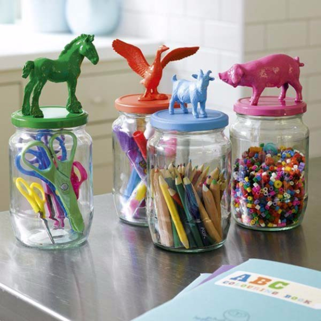 DIY Organizing Ideas for Kids Rooms - Animal Topped Mason Jars To Organize Kids Supplies - Easy Storage Projects for Boy and Girl Room - Step by Step Tutorials to Get Toys, Books, Baby Gear, Games and Clothes Organized #diy #kids #organizing