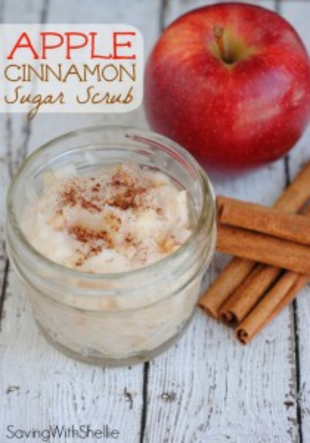 DIY Sugar Scrub Recipes - Apple Cinnamon Sugar Scrub - Easy and Quick Beauty Products You Can Make at Home - Cool and Cheap DIY Gift Ideas for Homemade Presents Women, Girls and Teens Love - Natural Recipe Ideas for Making Sugar Scrub With Step by Step Tutorials