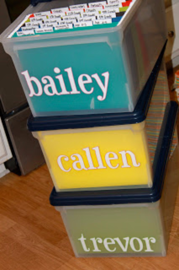 DIY Organizing Ideas for Kids Rooms - Baby Boxes With Names - Easy Storage Projects for Boy and Girl Room - Step by Step Tutorials to Get Toys, Books, Baby Gear, Games and Clothes Organized - Quick and Cheap Shelving, Tables, Toy Boxes, Closet Tips, Bookcases and Dressers - DIY Projects and Crafts http://diyjoy.com/diy-organizing-ideas-kids-rooms