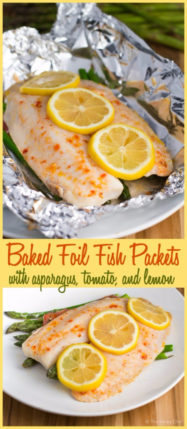 DIY Tin Foil Camping Recipes - Baked Foil Fish Packets With Asparagus And Tomato - Tin Foil Dinners, Ideas for Camping Trips healthy Easy Make Ahead Recipe Ideas for the Campfire. Breakfast, Lunch, Dinner and Dessert, #recipes #camping