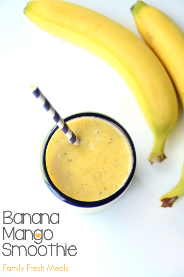 Healthy Smoothie Recipes - Banana Mango Smoothie - Easy ideas perfect for breakfast, energy. Low calorie and high protein recipes for weightloss and to lose weight. Simple homemade recipe ideas that kids love. Quick EASY morning recipes before work and school, after workout #smoothies #healthy #smoothie #healthyrecipes #recipes
