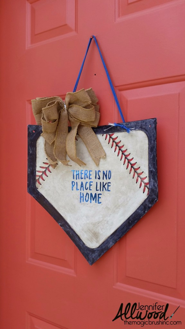 DIY Projects for the Sports Fan - Baseball Door Hanging - Crafts and DIY Ideas for Men - Football, Baseball, Basketball, Soccer and Golf - Wall Art, DIY Gifts, Easy Gift Ideas, Room and Home Decor #sports #diygifts #giftsformen