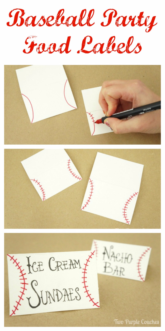 DIY Projects for the Sports Fan - Baseball Food Labels - Crafts and DIY Ideas for Men - Football, Baseball, Basketball, Soccer and Golf - Wall Art, DIY Gifts, Easy Gift Ideas, Room and Home Decor http://diyjoy.com/diy-ideas-sports-fan
