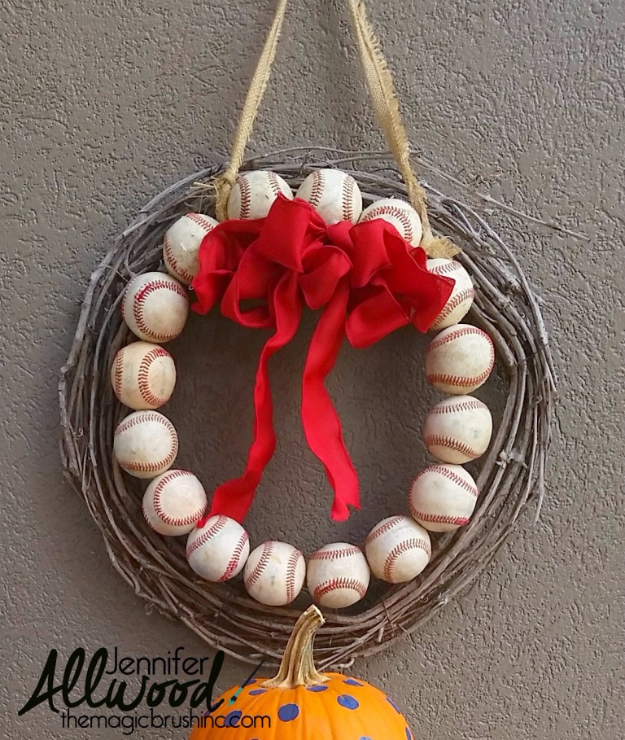 DIY Projects for the Sports Fan - Baseball Front Door Wreath - Crafts and DIY Ideas for Men - Football, Baseball, Basketball, Soccer and Golf - Wall Art, DIY Gifts, Easy Gift Ideas, Room and Home Decor http://diyjoy.com/diy-ideas-sports-fan