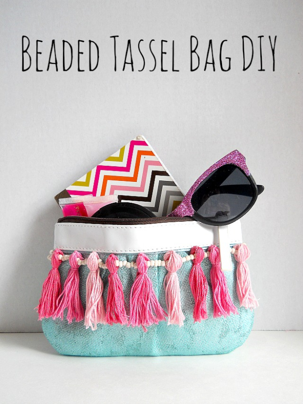 DIY Purses and Handbags - Beaded Tassel Bag DIY - Homemade Projects to Decorate and Make Purses - Add Paint, Glitter, Buttons and Bling To Your Hand Bags and Purse With These Easy Step by Step Tutorials - Boho, Modern, and Cool Fashion Ideas for Women and Teens http://diyjoy.com/diy-purses