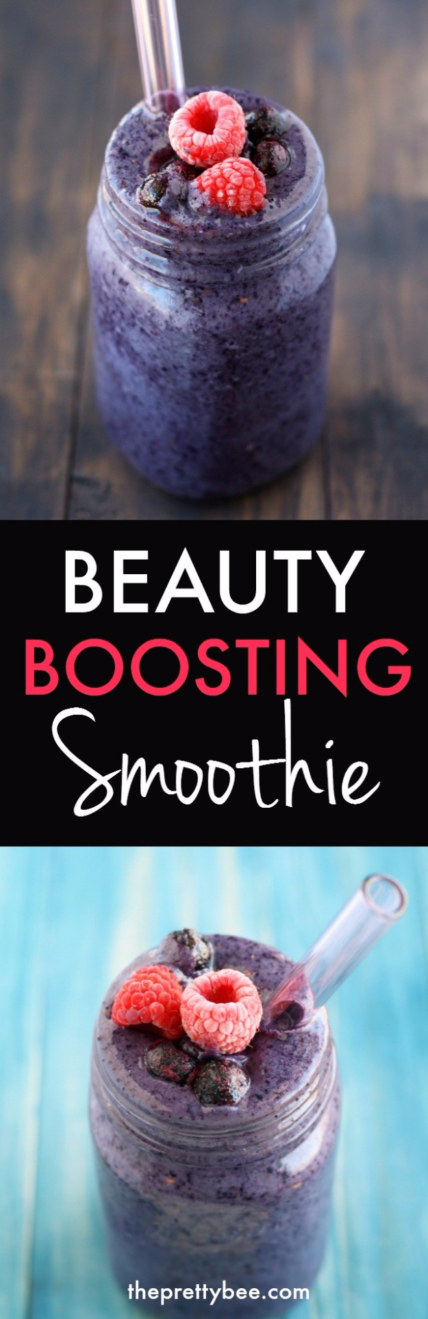 Healthy Smoothie Recipes - Beauty Boosting Smootihie - Easy ideas perfect for breakfast, energy. Low calorie and high protein recipes for weightloss and to lose weight. Simple homemade recipe ideas that kids love. Quick EASY morning recipes before work and school, after workout #smoothies #healthy #smoothie #healthyrecipes #recipes