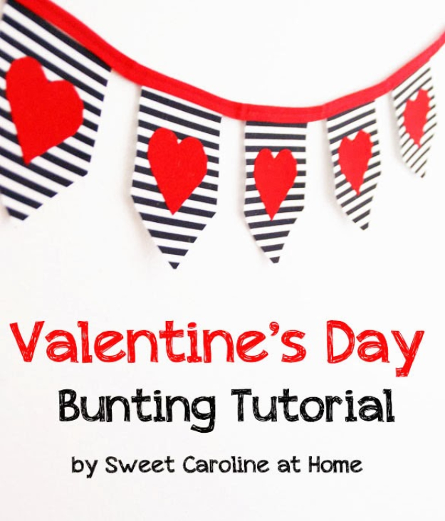 DIY Valentine Decor Ideas - Bold Valentine's Day Bunting - Cute and Easy Home Decor Projects for Valentines Day Decorating - Best Homemade Valentine Decorations for Home, Tables and Party, Kids and Outdoor - Romantic Vintage Ideas - Cheap Dollar Store and Dollar Tree Crafts