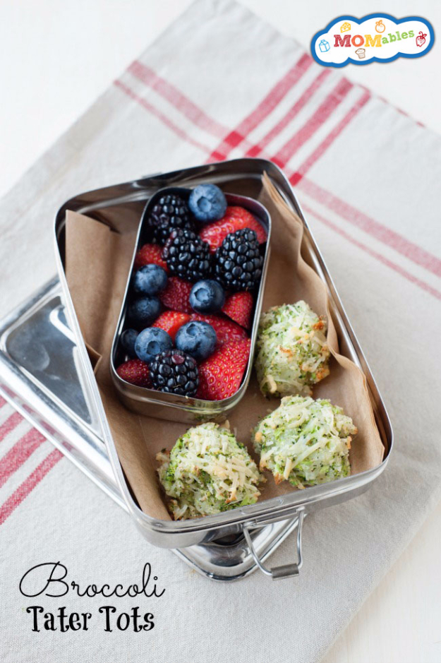 Healthy Lunch Ideas for Work - Broccoli Tater Tots - Quick and Easy Recipes You Can Pack for Lunches at the Office - Lowfat and Simple Ideas for Eating on the Job - Microwave, No Heat, Mason Jar Salads, Sandwiches, Wraps, Soups and Bowls