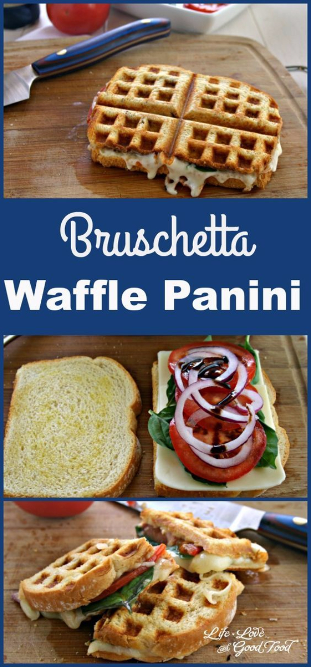 Waffle Iron Hacks and Easy Recipes for Waffle Irons - Bruschetta Waffle Panini - Quick Ways to Make Healthy Meals in a Waffle Maker - Breakfast, Dinner, Lunch, Dessert and Snack Ideas - Homemade Pizza, Cinnamon Rolls, Egg, Low Carb, Sandwich, Bisquick, Savory Recipes and Biscuits #diy #waffle #hacks