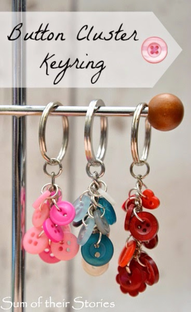 DIY Projects and Crafts Made With Buttons - Button Cluster Key Ring - Easy and Quick Projects You Can Make With Buttons - Cool and Creative Crafts, Sewing Ideas and Homemade Gifts for Women, Teens, Kids and Friends - Home Decor, Fashion and Cheap, Inexpensive Fun Things to Make on A Budget
