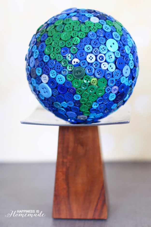 DIY Projects and Crafts Made With Buttons - Button Globe - Easy and Quick Projects You Can Make With Buttons - Cool and Creative Crafts, Sewing Ideas and Homemade Gifts for Women, Teens, Kids and Friends - Home Decor, Fashion and Cheap, Inexpensive Fun Things to Make on A Budget http://diyjoy.com/diy-projects-buttons