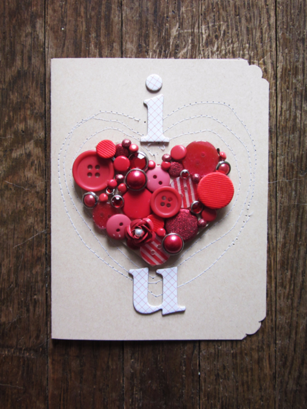 DIY Valentines Day Cards - Button Heart Valentine's Card - Easy Handmade Cards for Him and Her, Kids, Freinds and Teens - Funny, Romantic, Printable Ideas for Making A Unique Homemade Valentine Card - Step by Step Tutorials and Instructions for Making Cute Valentine's Day Gifts #valentines