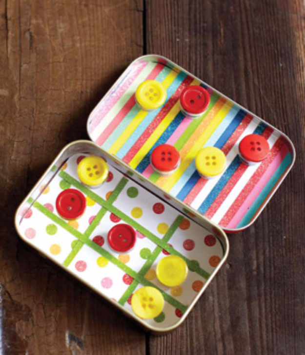 DIY Projects and Crafts Made With Buttons - Button Mini Travel Game - Easy and Quick Projects You Can Make With Buttons - Cool and Creative Crafts, Sewing Ideas and Homemade Gifts for Women, Teens, Kids and Friends - Home Decor, Fashion and Cheap, Inexpensive Fun Things to Make on A Budget http://diyjoy.com/diy-projects-buttons