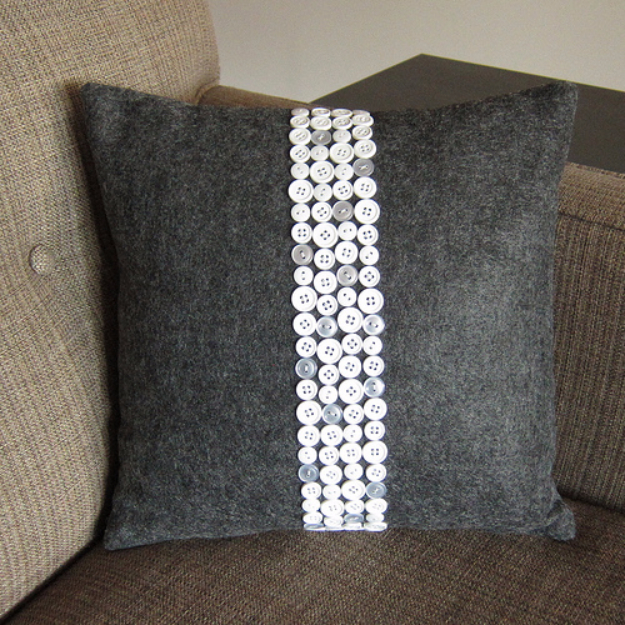 DIY Projects and Crafts Made With Buttons - Button Pillow - Easy and Quick Projects You Can Make With Buttons - Cool and Creative Crafts, Sewing Ideas and Homemade Gifts for Women, Teens, Kids and Friends - Home Decor, Fashion and Cheap, Inexpensive Fun Things to Make on A Budget