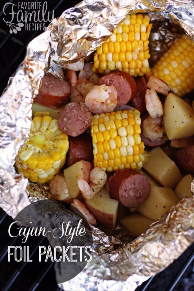 DIY Tin Foil Camping Recipes - Cajun Style Foil Packets - Tin Foil Dinners, Ideas for Camping Trips healthy Easy Make Ahead Recipe Ideas for the Campfire. Breakfast, Lunch, Dinner and Dessert, #recipes #camping