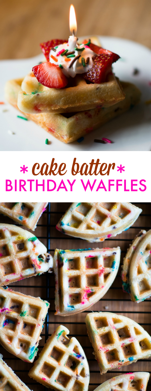 Waffle Iron Hacks and Easy Recipes for Waffle Irons - Cake Batter Birthday Waffles - Quick Ways to Make Healthy Meals in a Waffle Maker - Breakfast, Dinner, Lunch, Dessert and Snack Ideas - Homemade Pizza, Cinnamon Rolls, Egg, Low Carb, Sandwich, Bisquick, Savory Recipes and Biscuits #diy #waffle #hacks