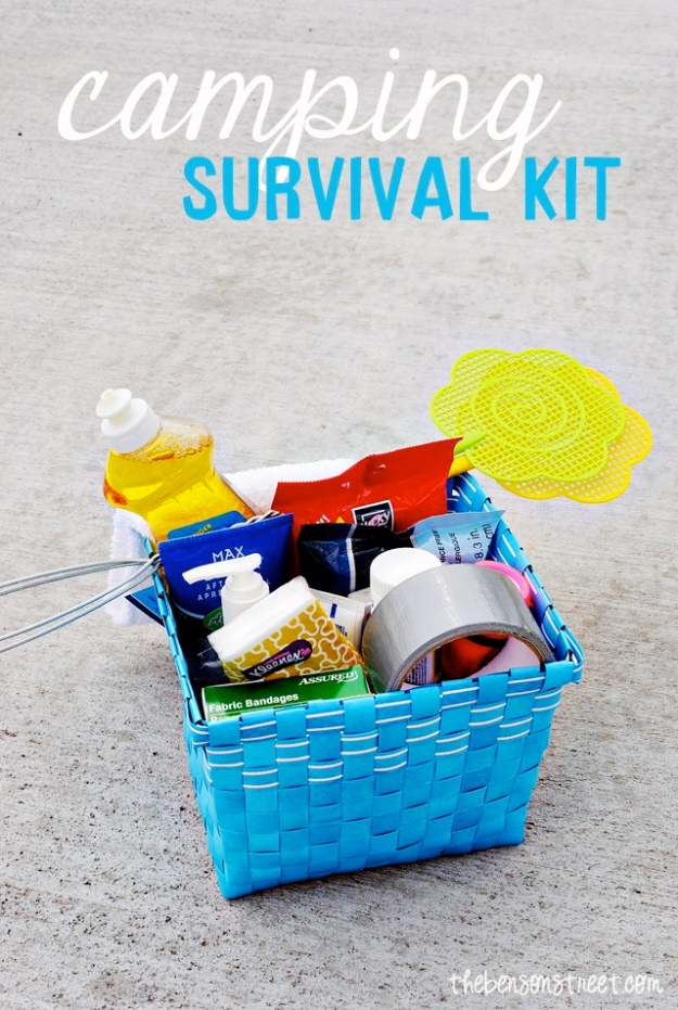 DIY Camping Hacks - Camping Survival Kit - Easy Tips and Tricks, Recipes for Camping - Gear Ideas, Cheap Camping Supplies, Tutorials for Making Quick Camping Food, Fire Starters, Gear Holders #diy #camping