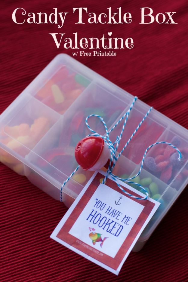Best DIY Valentines Day Gifts - Candy Tackle Box - Cute Mason Jar Valentines Day Gifts and Crafts for Him and Her | Boyfriend, Girlfriend, Mom and Dad, Husband or Wife, Friends - Easy DIY Ideas for Valentines Day for Homemade Gift Giving and Room Decor | Creative Home Decor and Craft Projects for Teens, Teenagers, Kids and Adults