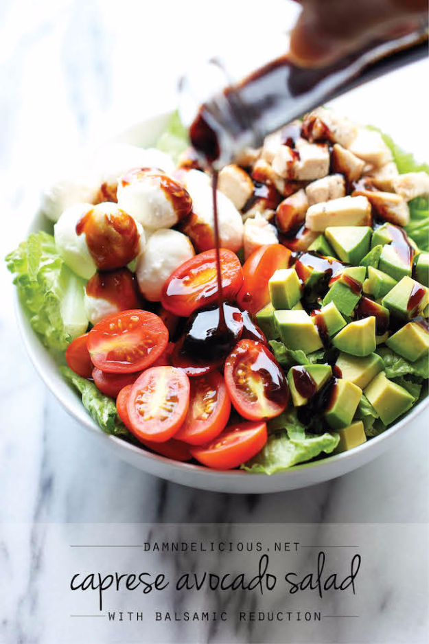 Healthy Lunch Ideas for Work - Caprese Avocado Salad - Quick and Easy Recipes You Can Pack for Lunches at the Office - Lowfat and Simple Ideas for Eating on the Job - Microwave, No Heat, Mason Jar Salads, Sandwiches, Wraps, Soups and Bowls