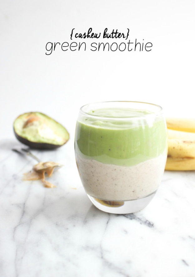 Healthy Smoothie Recipes - Cashew Butter Green Smoothie - Easy ideas perfect for breakfast, energy. Low calorie and high protein recipes for weightloss and to lose weight. Simple homemade recipe ideas that kids love. Quick EASY morning recipes before work and school, after workout #smoothies #healthy #smoothie #healthyrecipes #recipes